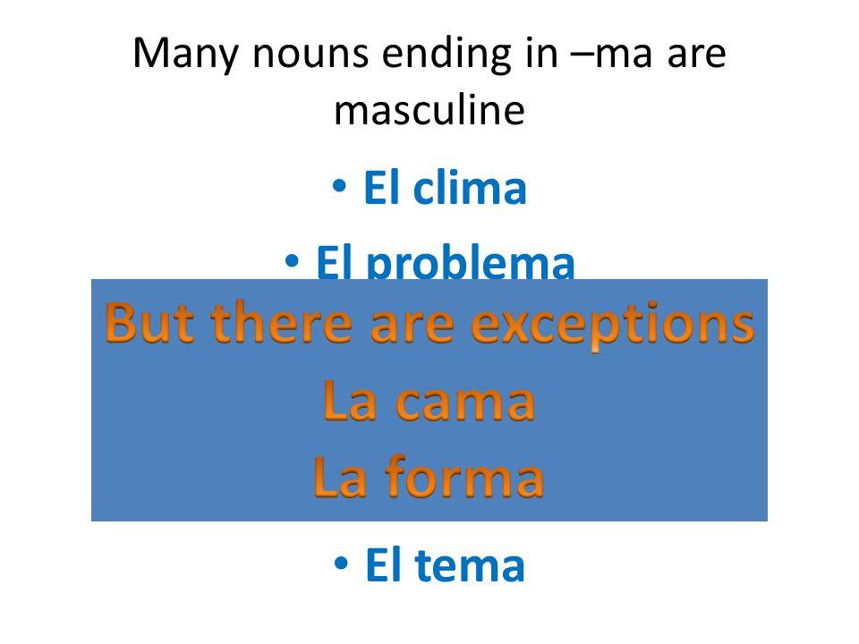 Many nouns ending in –ma are masculine El clima El problema El programa El sistema El pijama El tema