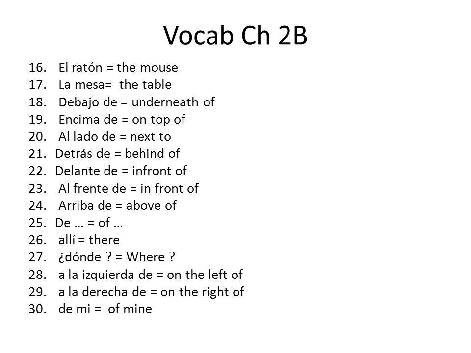 Vocab Ch 2B 16. El ratón = the mouse 17. La mesa= the table 18.