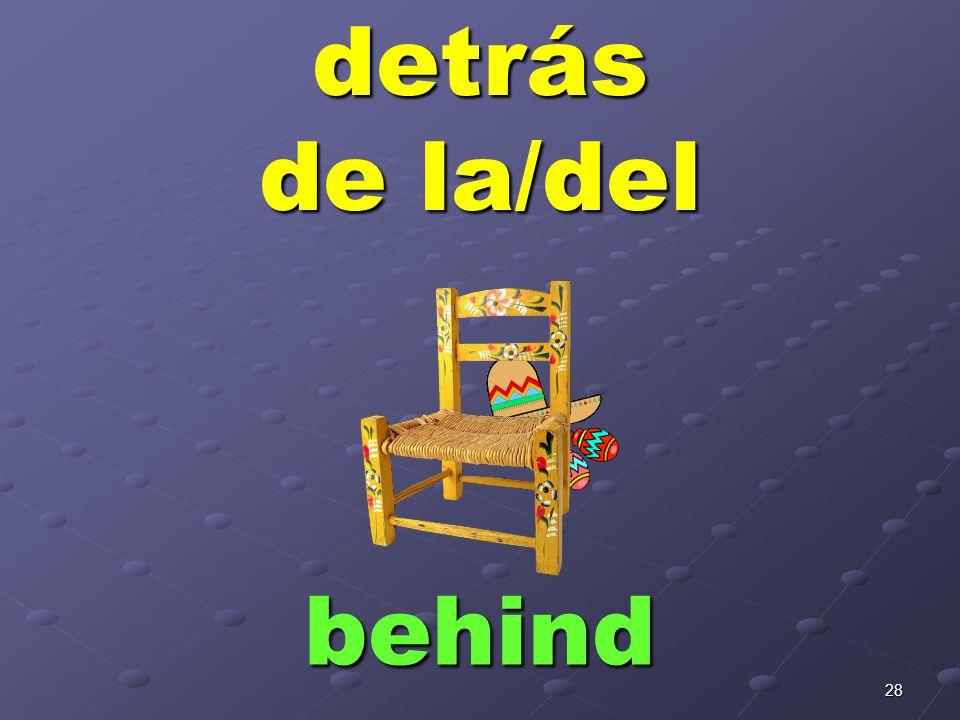 28detrás de la/del behind