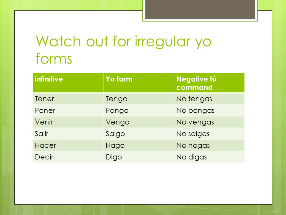 Watch out for irregular yo forms infinitiveYo formNegative tú command TenerTengoNo tengas PonerPongoNo pongas VenirVengoNo vengas SalirSalgoNo salgas HacerHagoNo hagas DecirDigoNo digas