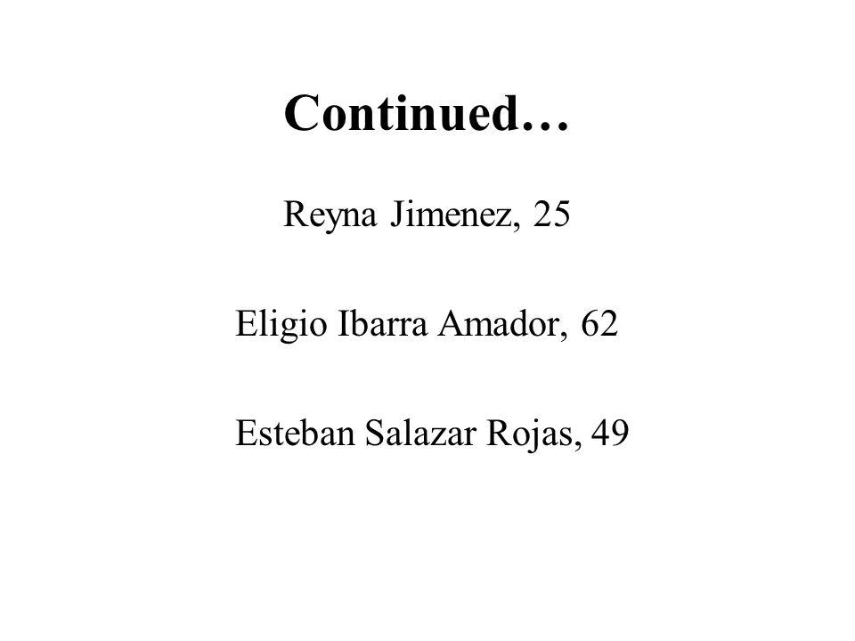 Continued… Reyna Jimenez, 25 Eligio Ibarra Amador, 62 Esteban Salazar Rojas, 49