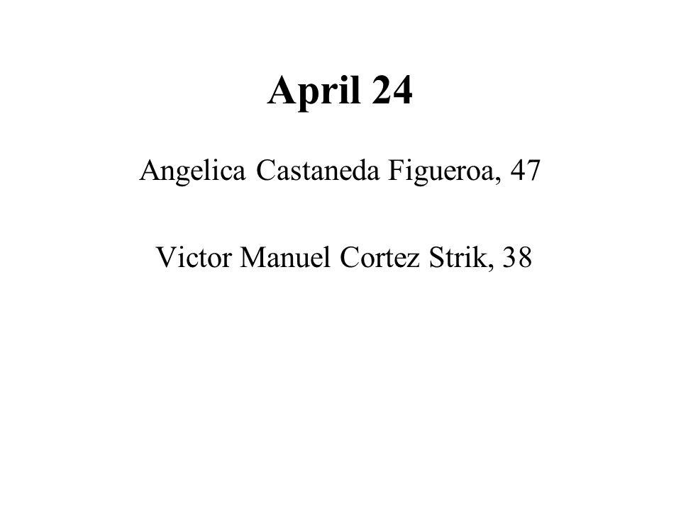 April 24 Angelica Castaneda Figueroa, 47 Victor Manuel Cortez Strik, 38