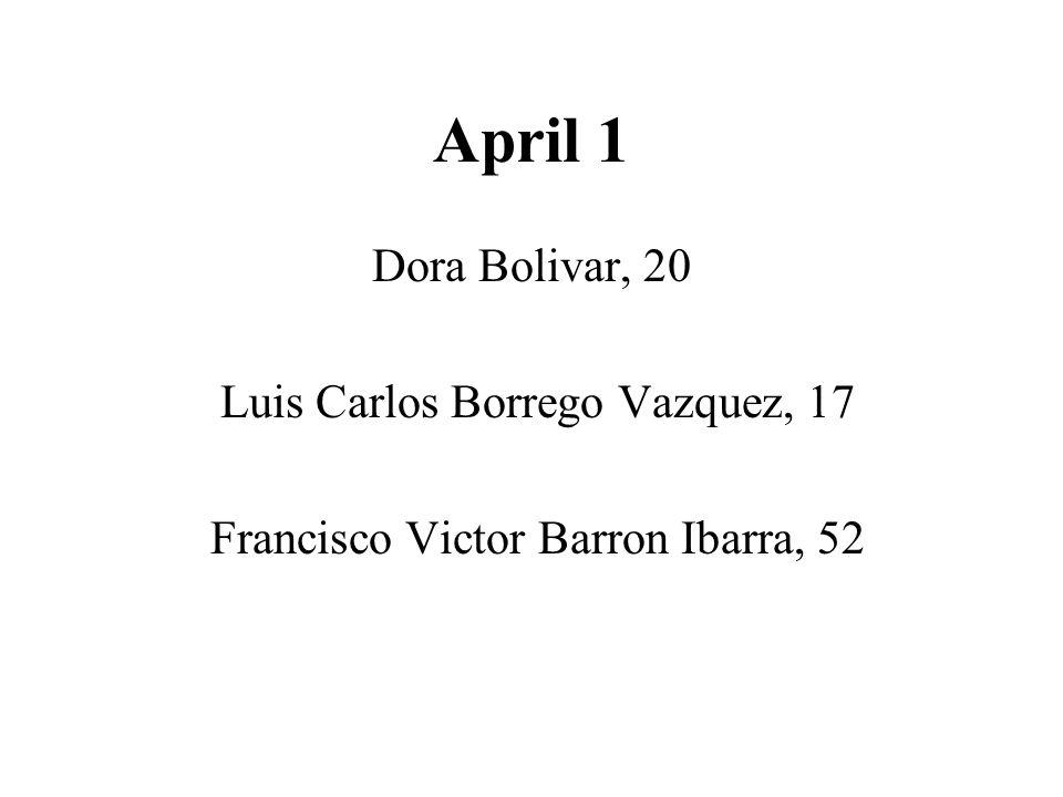 April 1 Dora Bolivar, 20 Luis Carlos Borrego Vazquez, 17 Francisco Victor Barron Ibarra, 52