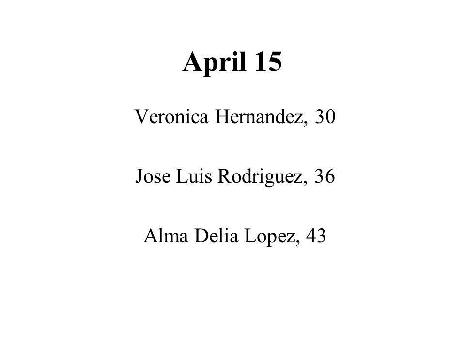 April 15 Veronica Hernandez, 30 Jose Luis Rodriguez, 36 Alma Delia Lopez, 43