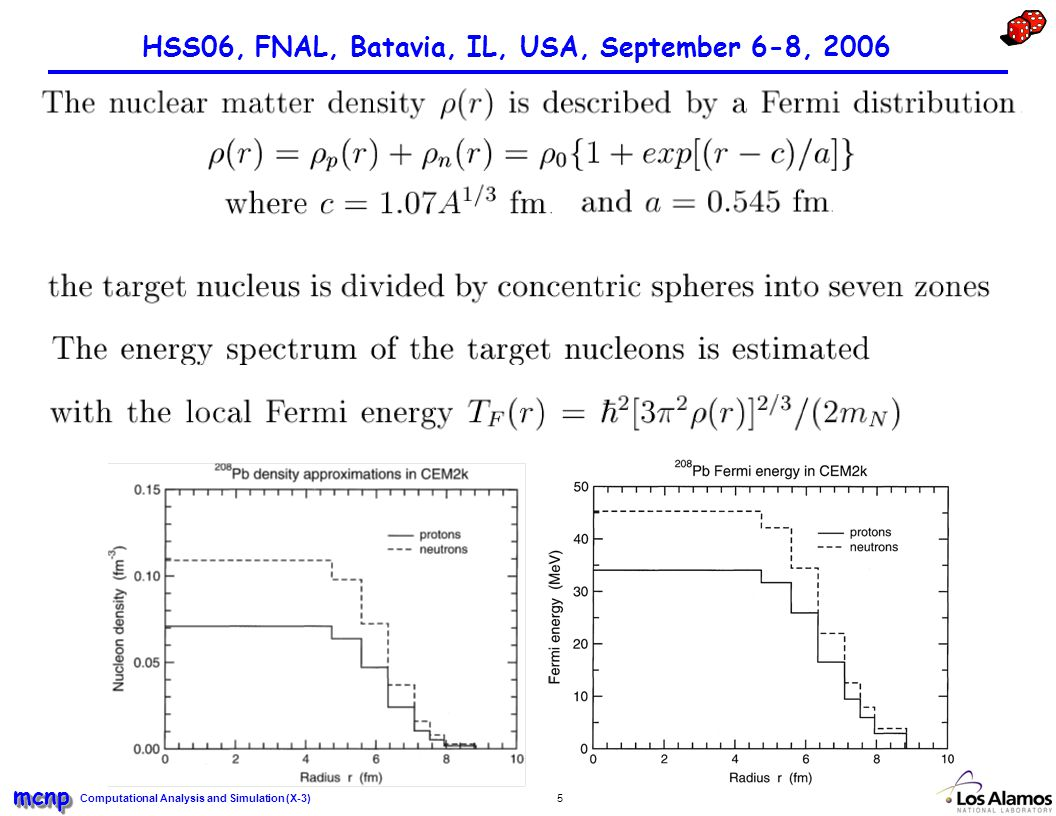 Computational Analysis and Simulation (X-3) mcnpmcnp 5 HSS06, FNAL, Batavia, IL, USA, September 6-8, 2006