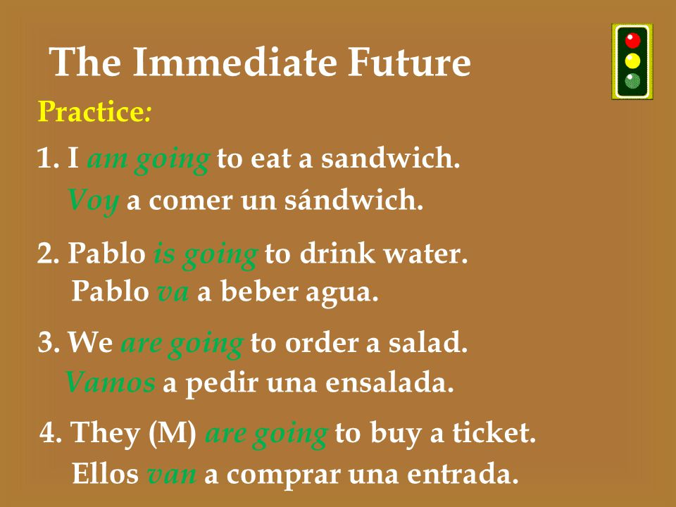 The Immediate Future 1. I am going to eat a sandwich.