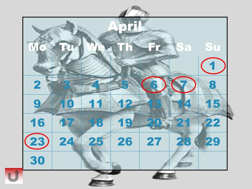 April MoTuWeThFrSaSu 1 2345678 9101112131415 16171819202122 23242526272829 30