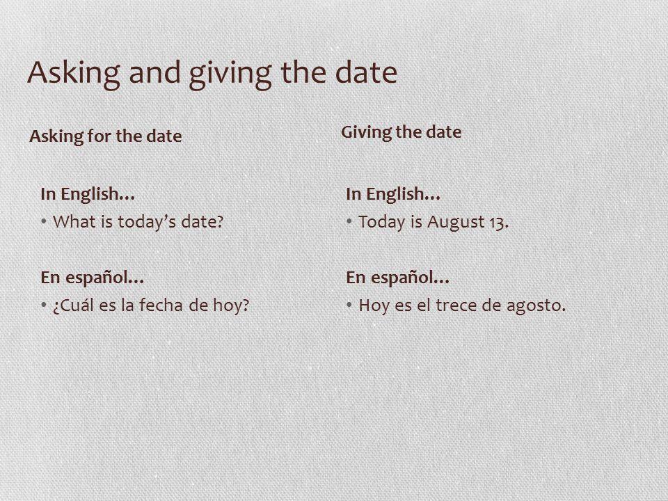 Equation Hoy es el _(número)__ de _(el mes)___.Práctica 1.Today's date is October 31.