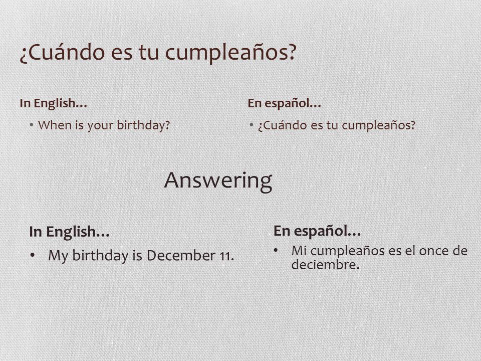 Práctica ¿Cuándo es tu cumpleaños.Translate: 1. My birthday is August 20.