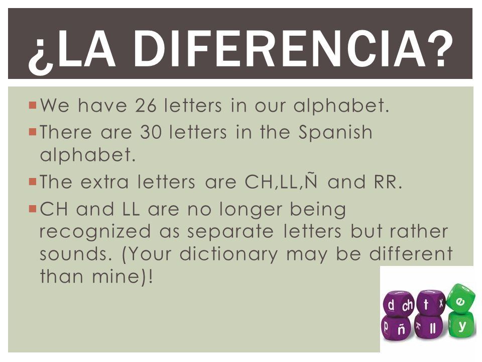  We have 26 letters in our alphabet. There are 30 letters in the Spanish alphabet.
