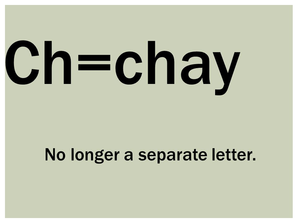 Ch=chay No longer a separate letter.
