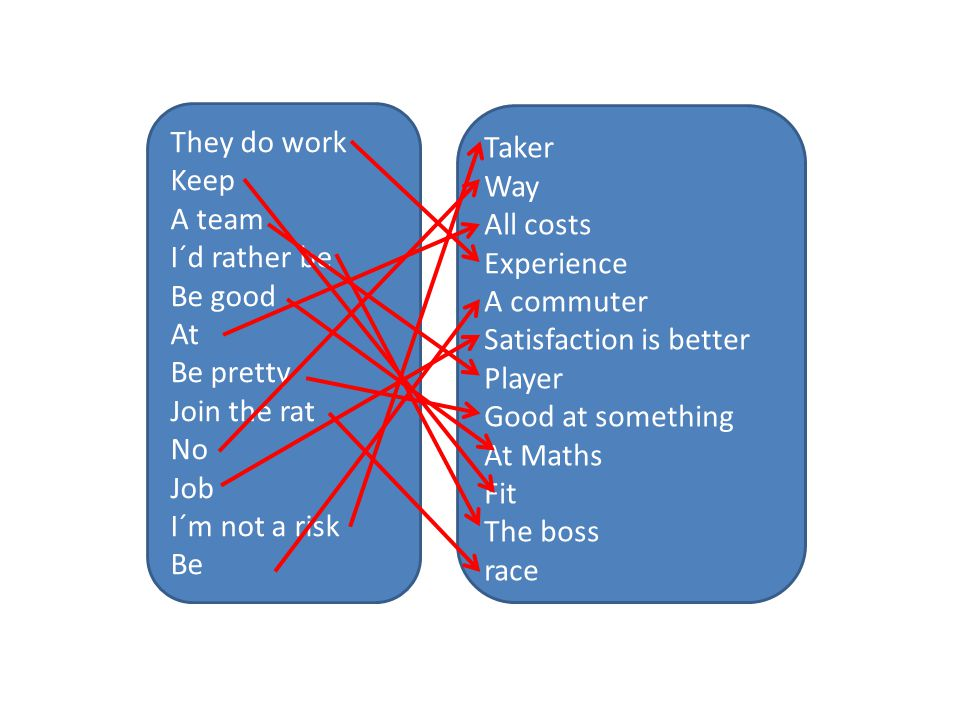 They do work Keep A team I´d rather be Be good At Be pretty Join the rat No Job I´m not a risk Be Taker Way All costs Experience A commuter Satisfaction is better Player Good at something At Maths Fit The boss race