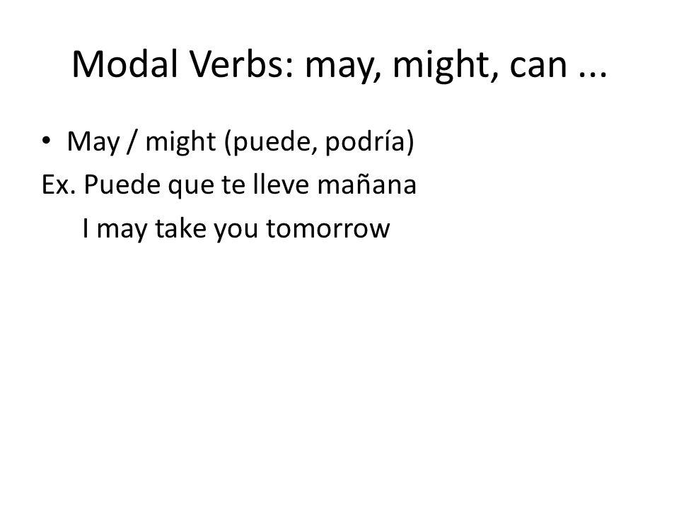 Modal Verbs: may, might, can...May / might (puede, podría) Ex.