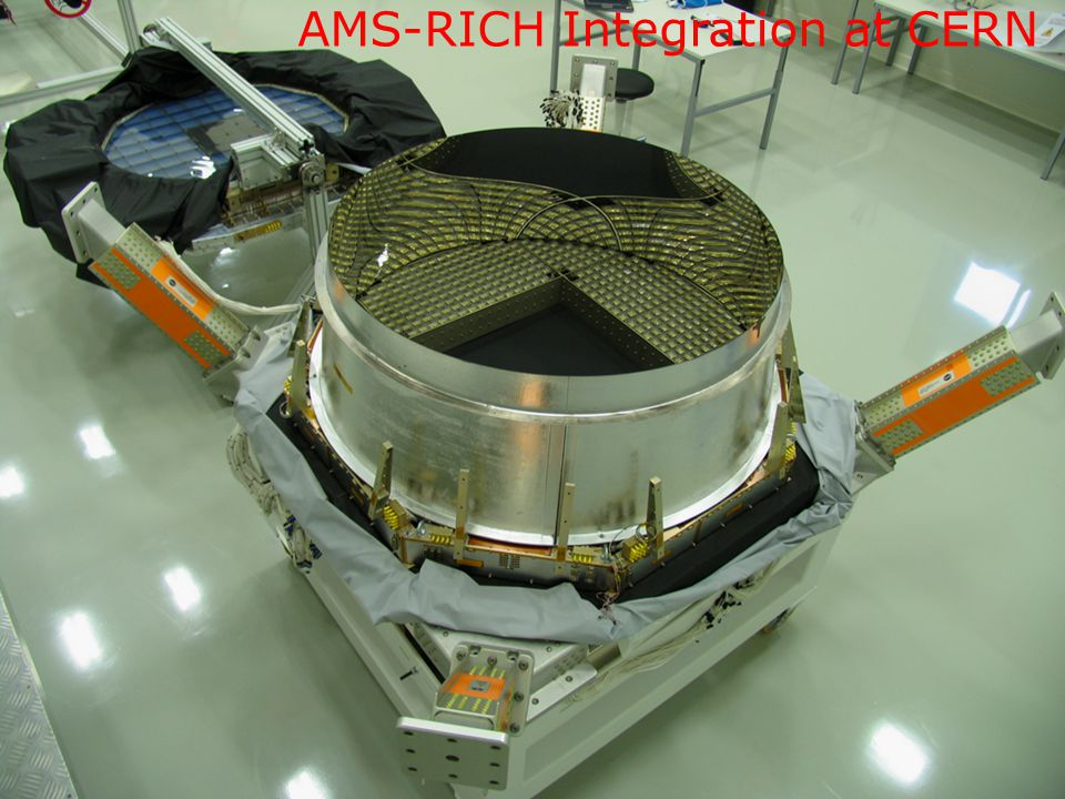 AMS-RICH Integration at CERN