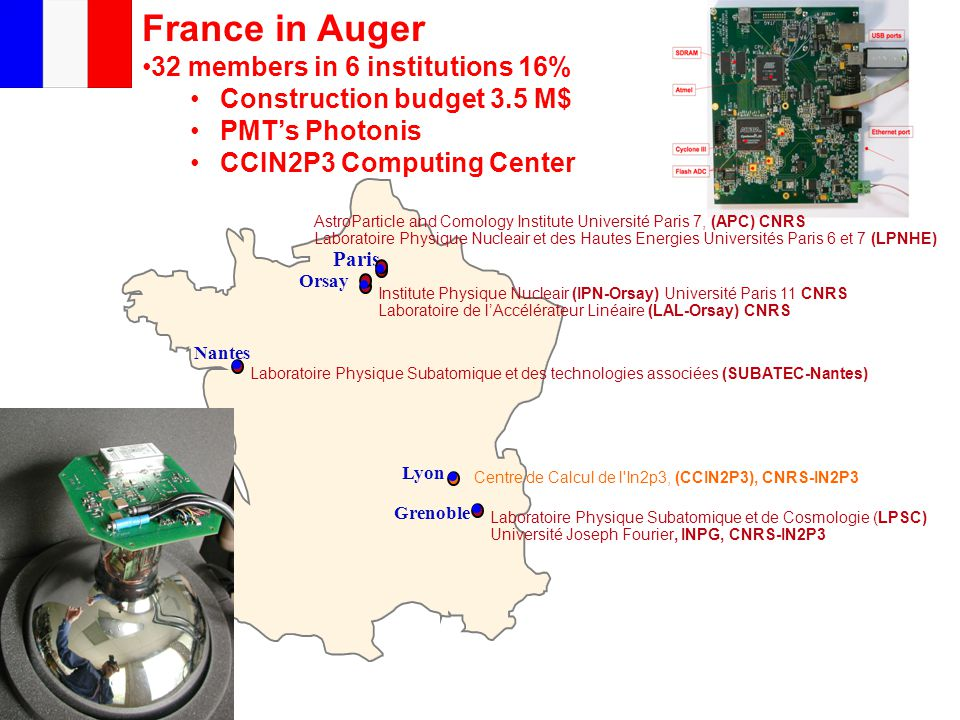 France in Auger 32 members in 6 institutions 16% Construction budget 3.5 M$ PMT's Photonis CCIN2P3 Computing Center Grenoble Laboratoire Physique Subatomique et de Cosmologie (LPSC) Université Joseph Fourier, INPG, CNRS-IN2P3 Paris Lyon Institute Physique Nucleair (IPN-Orsay) Université Paris 11 CNRS Laboratoire de l'Accélérateur Linéaire (LAL-Orsay) CNRS AstroParticle and Comology Institute Université Paris 7, (APC) CNRS Laboratoire Physique Nucleair et des Hautes Energies Universités Paris 6 et 7 (LPNHE) Orsay Nantes Laboratoire Physique Subatomique et des technologies associées (SUBATEC-Nantes) Centre de Calcul de l In2p3, (CCIN2P3), CNRS-IN2P3