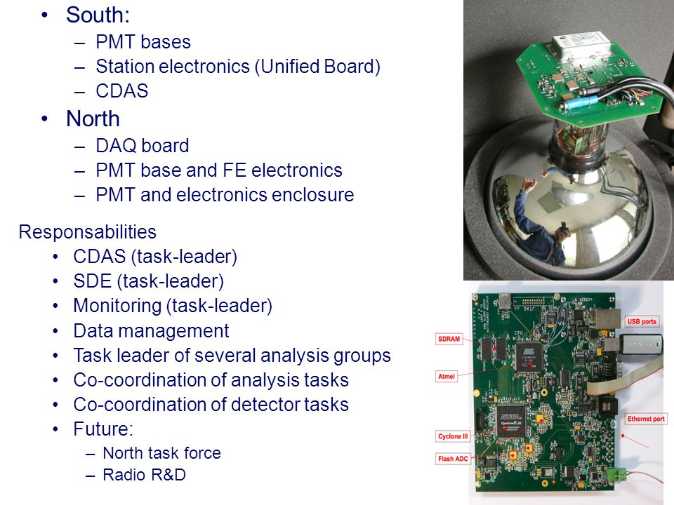 South: –PMT bases –Station electronics (Unified Board) –CDAS North –DAQ board –PMT base and FE electronics –PMT and electronics enclosure Responsabilities CDAS (task-leader) SDE (task-leader) Monitoring (task-leader) Data management Task leader of several analysis groups Co-coordination of analysis tasks Co-coordination of detector tasks Future: –North task force –Radio R&D