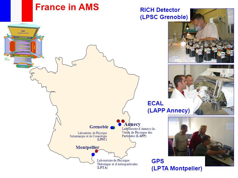 France in AMS Montpellier Grenoble Annecy Laboratoire d'Annecy-le- Vieux de Physique des Particules (LAPP) Laboratoire de Physique Th é orique et d ' Astroparticules (LPTA) Laboratoire de Physique Subatomique et de Cosmologie (LPSC) RICH Detector (LPSC Grenoble) ECAL (LAPP Annecy) GPS (LPTA Montpelier)