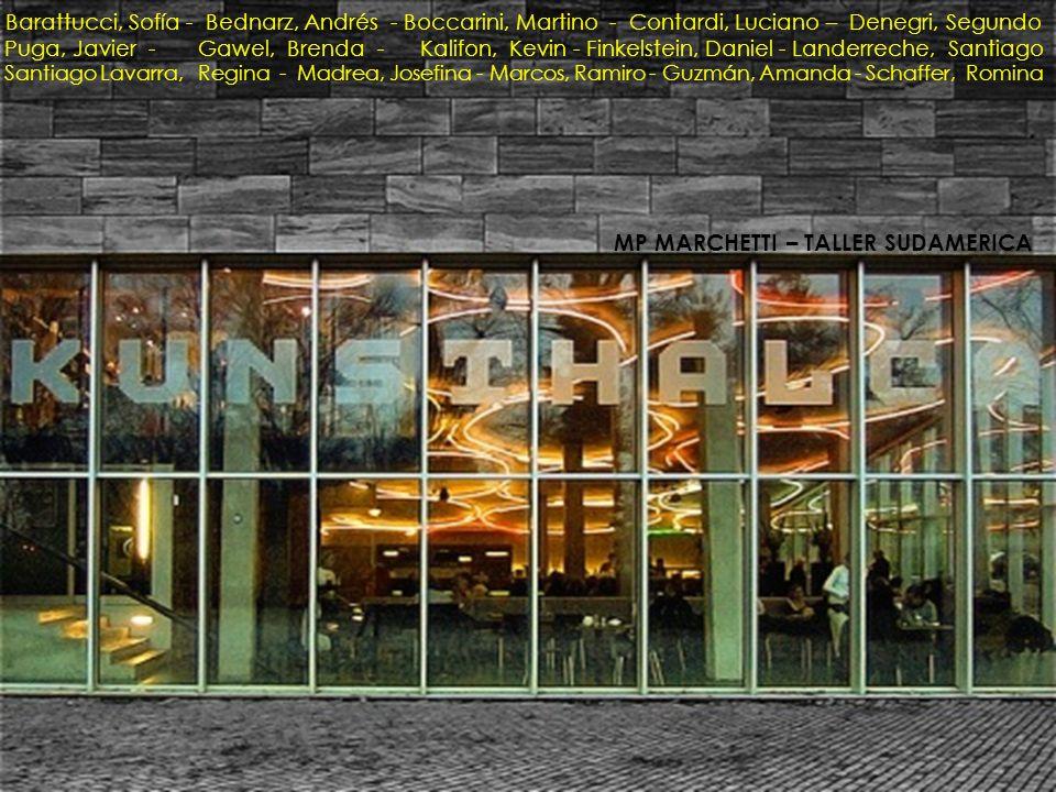 Barattucci, Sofía - Bednarz, Andrés - Boccarini, Martino - Contardi, Luciano – Denegri, Segundo Puga, Javier - Gawel, Brenda - Kalifon, Kevin - Finkelstein, Daniel - Landerreche, Santiago Santiago Lavarra, Regina - Madrea, Josefina - Marcos, Ramiro - Guzmán, Amanda - Schaffer, Romina MP MARCHETTI – TALLER SUDAMERICA