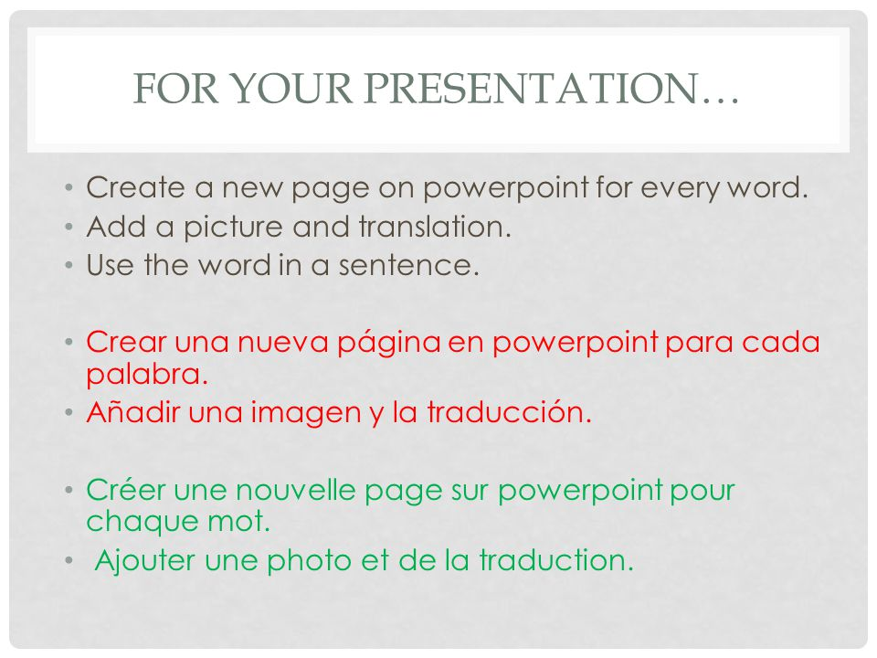 FOR YOUR PRESENTATION… Create a new page on powerpoint for every word.