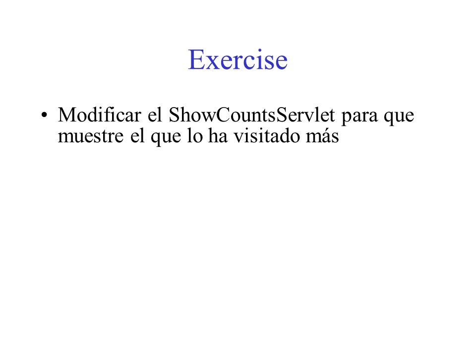 Exercise Modificar el ShowCountsServlet para que muestre el que lo ha visitado más