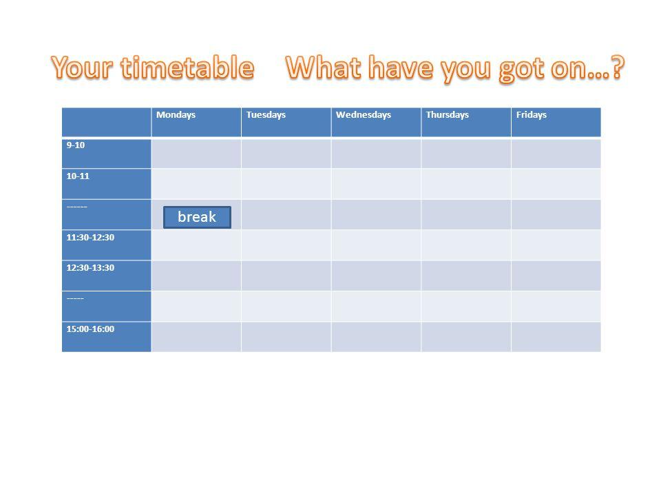 MondaysTuesdaysWednesdaysThursdaysFridays 9-10 10-11 ------ 11:30-12:30 12:30-13:30 ----- 15:00-16:00 break