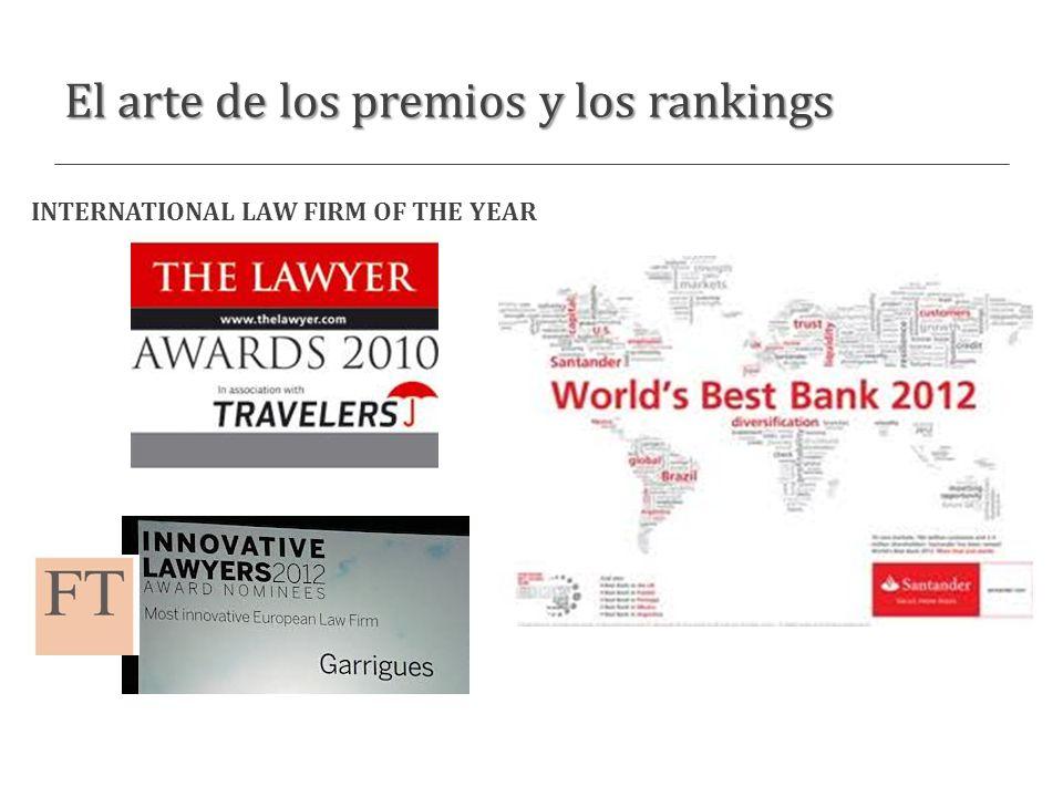 El arte de los premios y los rankings INTERNATIONAL LAW FIRM OF THE YEAR