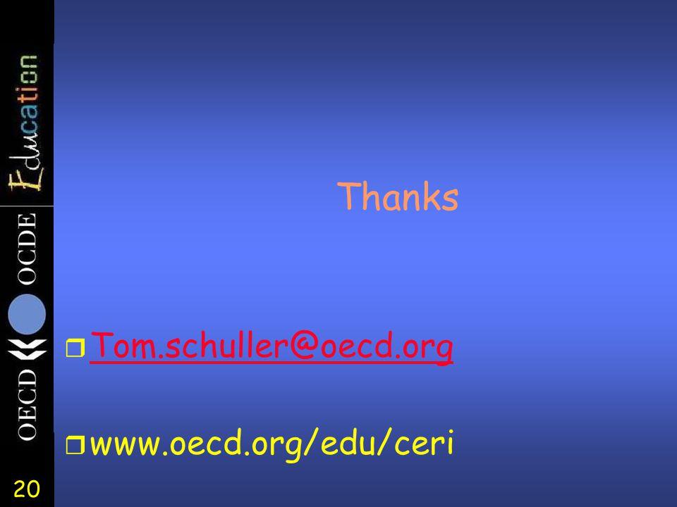 20 Thanks r Tom.schuller@oecd.org Tom.schuller@oecd.org r www.oecd.org/edu/ceri