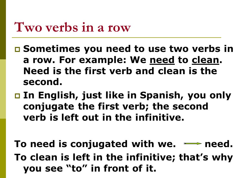  In Spanish We need to clean translates to: Nosotros necesitamos limpiar Necesitar is conjugated with nosotros= necesitamos Limpiar is left in the infinitive (Remember that verbs in the infinitive end in –ar, -er, or –ir in Spanish; in English they have a to in front of them)