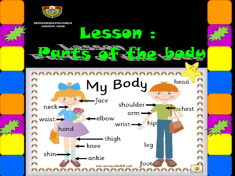 Parts of the body Parts of the body animals Descriptio n Favorite people Adjectives Verb to have got INSTITUCION EDUCATIVA PUBLICA AUGUSTO B.