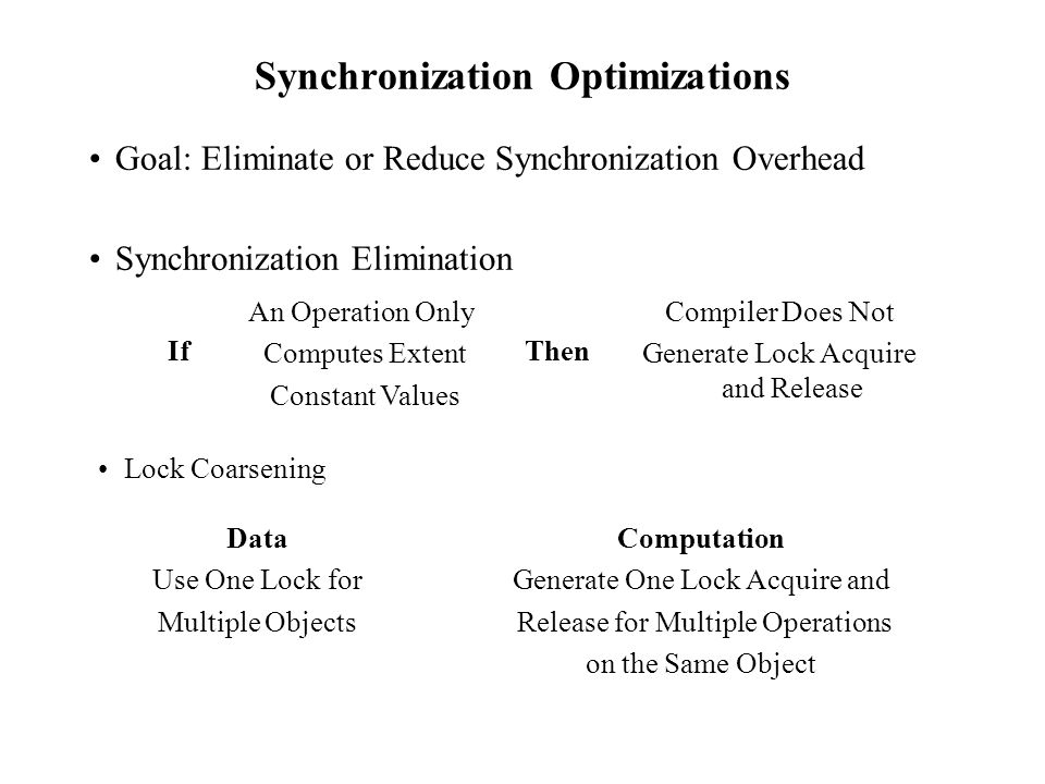 Synchronization Optimizations Goal: Eliminate or Reduce Synchronization Overhead Synchronization Elimination Data Use One Lock for Multiple Objects Computation Generate One Lock Acquire and Release for Multiple Operations on the Same Object An Operation Only Computes Extent Constant Values Compiler Does Not Generate Lock Acquire and Release ThenIf Lock Coarsening