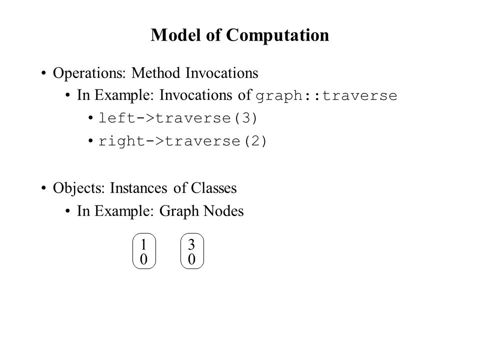Model of Computation Operations: Method Invocations In Example: Invocations of graph::traverse left->traverse(3) right->traverse(2) Objects: Instances of Classes In Example: Graph Nodes 1 0 3 0