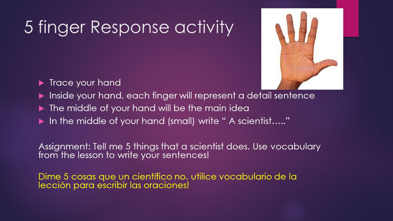 5 finger Response activity  Trace your hand  Inside your hand, each finger will represent a detail sentence  The middle of your hand will be the ma