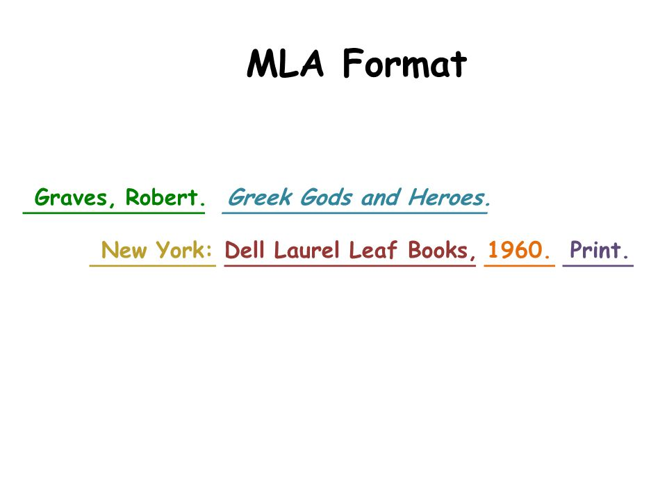 _____________ ___________________ _________ __________________ _____ _____ MLA Format Graves, Robert. Greek Gods and Heroes. New York: Dell Laurel Lea