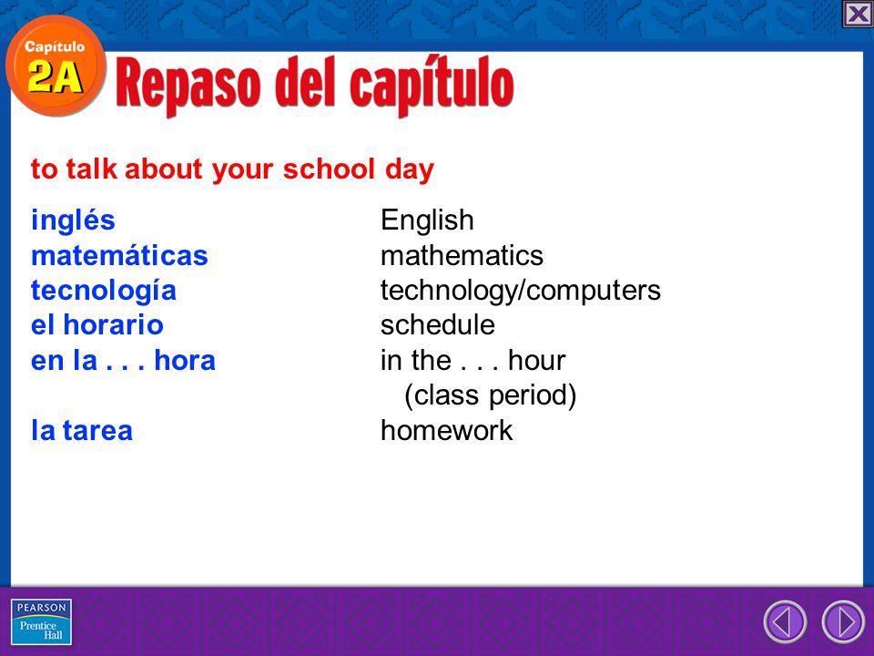 inglés English matemáticas mathematics tecnología technology/computers el horario schedule en la...