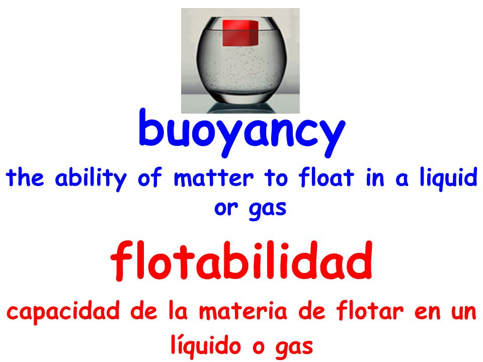 buoyancy the ability of matter to float in a liquid or gas flotabilidad capacidad de la materia de flotar en un líquido o gas