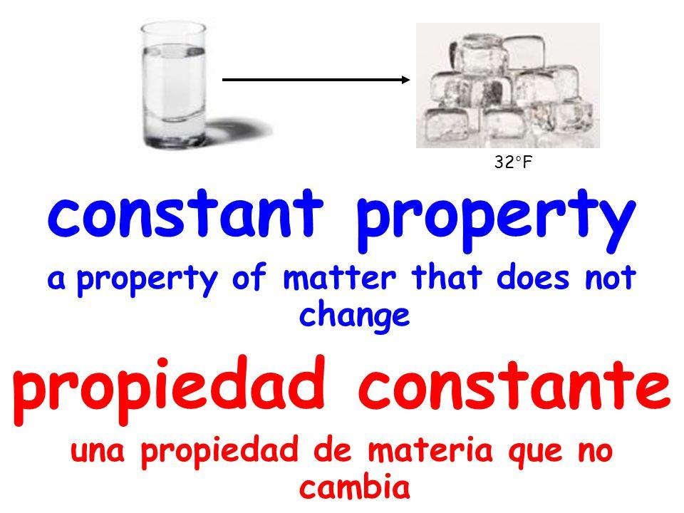 constant property a property of matter that does not change propiedad constante una propiedad de materia que no cambia 32°F