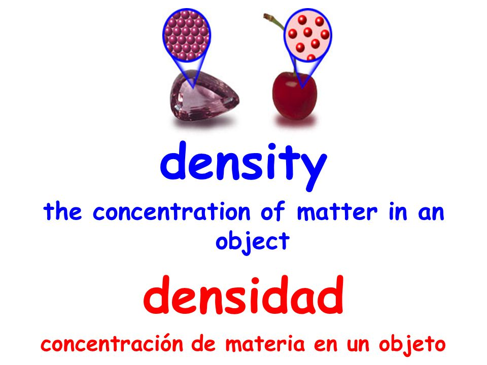 density the concentration of matter in an object densidad concentración de materia en un objeto