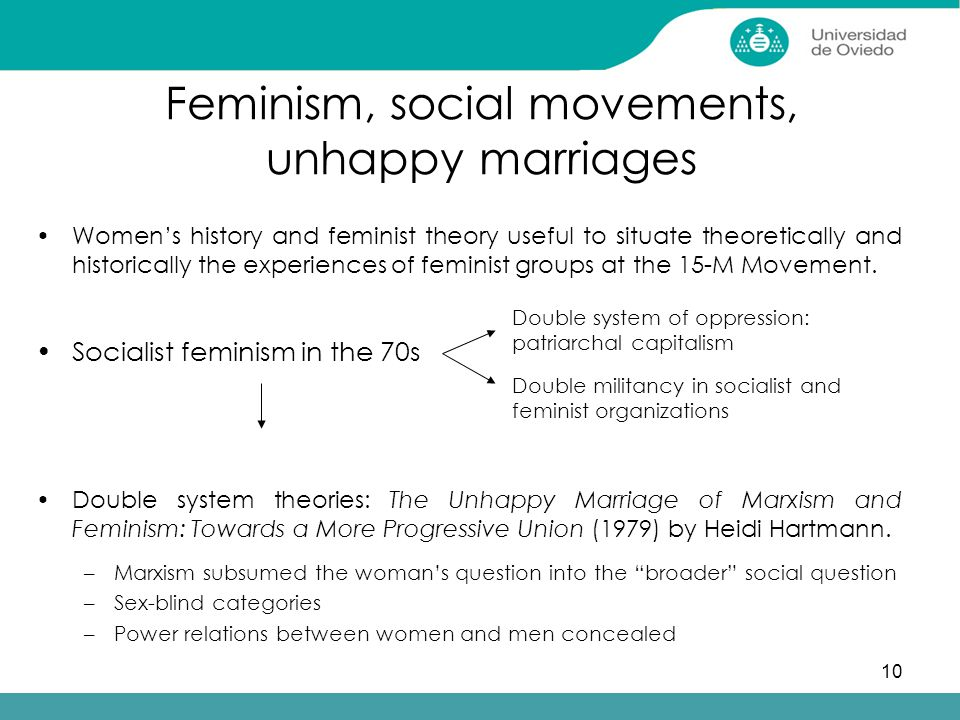 10 Feminism, social movements, unhappy marriages Women's history and feminist theory useful to situate theoretically and historically the experiences of feminist groups at the 15-M Movement.