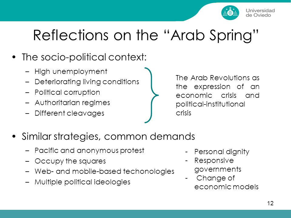 12 Reflections on the Arab Spring The socio-political context: –High unemployment –Deteriorating living conditions –Political corruption –Authoritarian regimes –Different cleavages Similar strategies, common demands –Pacific and anonymous protest –Occupy the squares –Web- and mobile-based techonologies –Multiple political ideologies The Arab Revolutions as the expression of an economic crisis and political-institutional crisis -Personal dignity -Responsive governments - Change of economic models