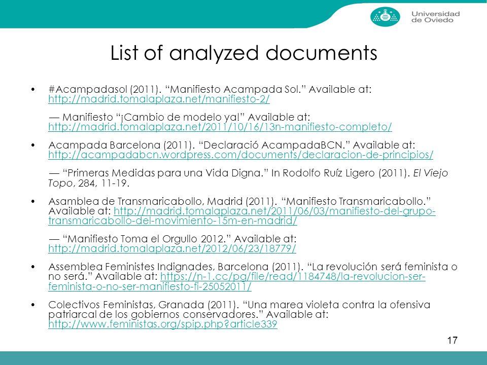 17 List of analyzed documents #Acampadasol (2011).