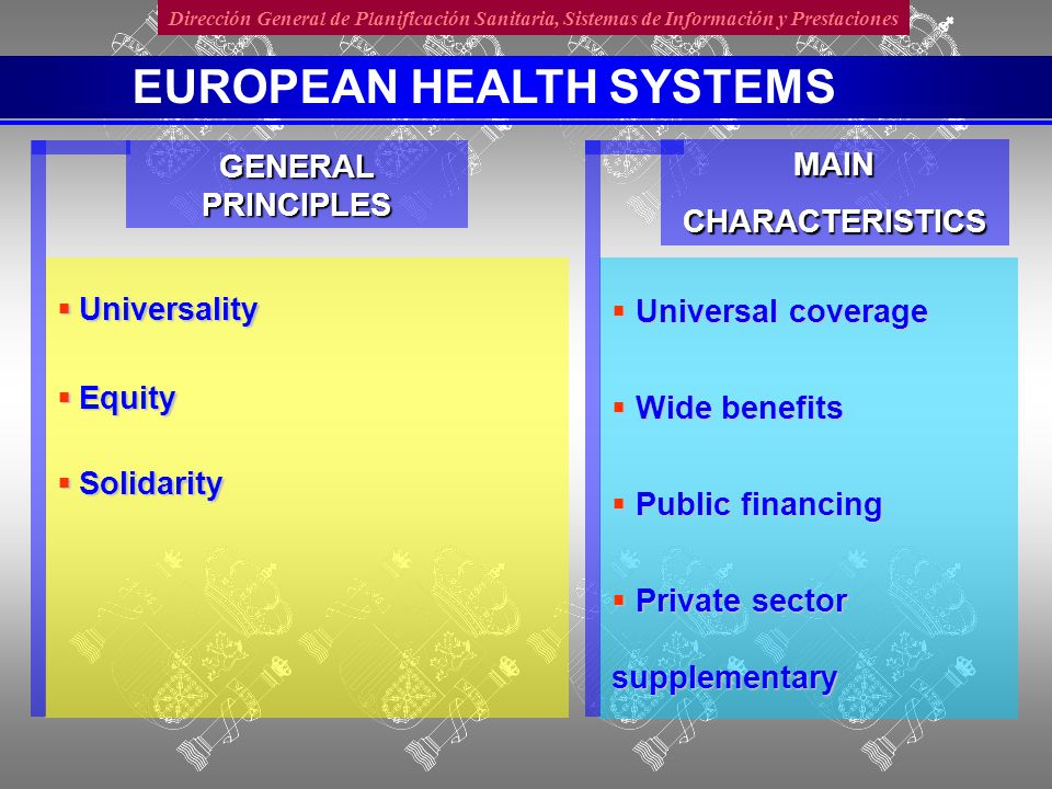 Dirección General de Planificación Sanitaria, Sistemas de Información y Prestaciones  Universality  Equity  Solidarity GENERAL PRINCIPLES  Universal coverage  Wide benefits  Public financing  Private sector supplementary MAINCHARACTERISTICS EUROPEAN HEALTH SYSTEMS