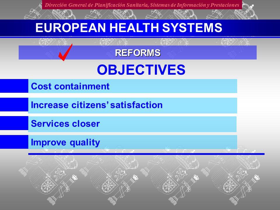 Dirección General de Planificación Sanitaria, Sistemas de Información y Prestaciones COST CONTAINMENT Slow increase Achieved Increasing more than Economy REFORMS EUROPEAN HEALTH SYSTEMS
