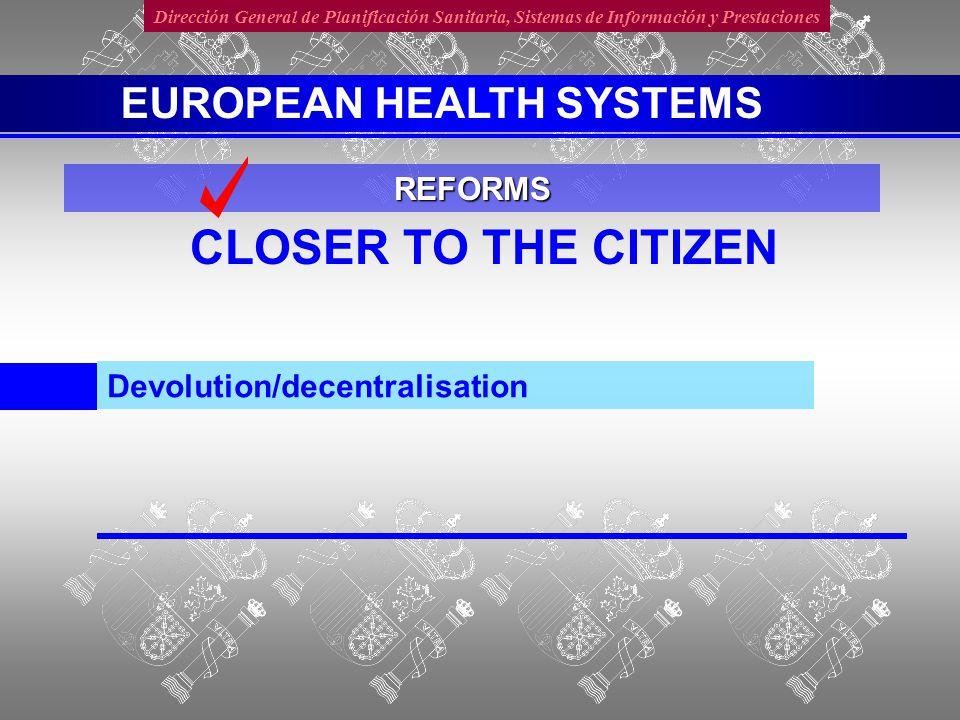 Dirección General de Planificación Sanitaria, Sistemas de Información y Prestaciones IMPROVE QUALITY Evaluation, accreditation, homologation, recertification Health Professionals Institutions REFORMS EUROPEAN HEALTH SYSTEMS