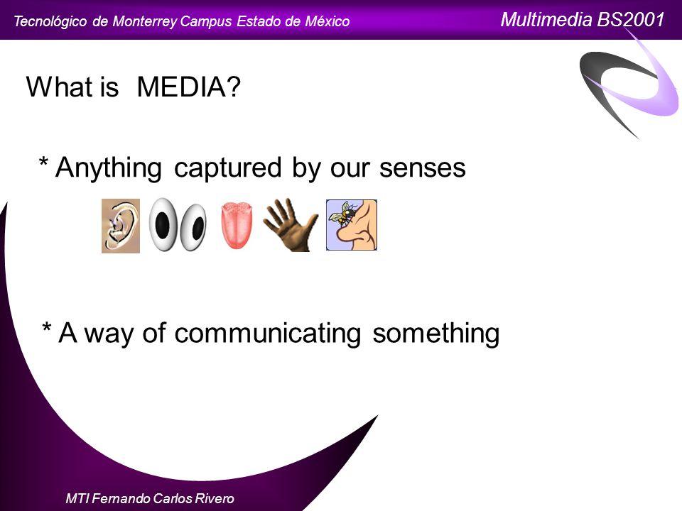 Tecnológico de Monterrey Campus Estado de México Multimedia BS2001 MTI Fernando Carlos Rivero What is MEDIA.
