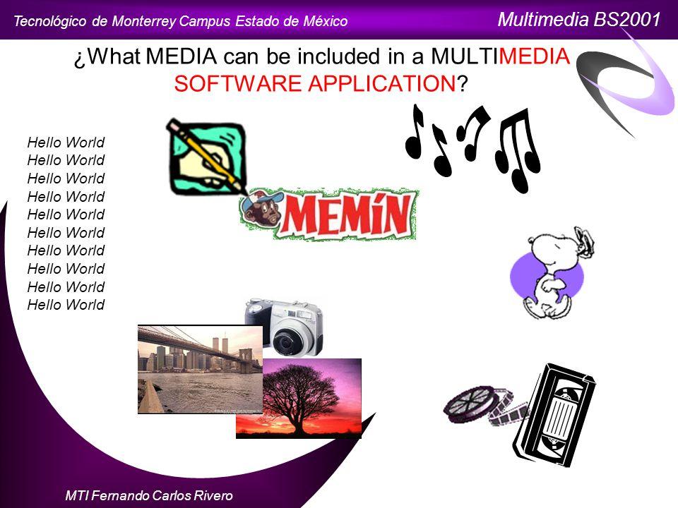 Tecnológico de Monterrey Campus Estado de México Multimedia BS2001 MTI Fernando Carlos Rivero ¿What MEDIA can be included in a MULTIMEDIA SOFTWARE APPLICATION.