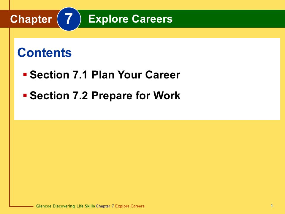 Glencoe Discovering Life Skills Chapter 7 Explore Careers Chapter 7 Explore Careers 1  Section 7.1 Plan Your Career  Section 7.2 Prepare for Work Co