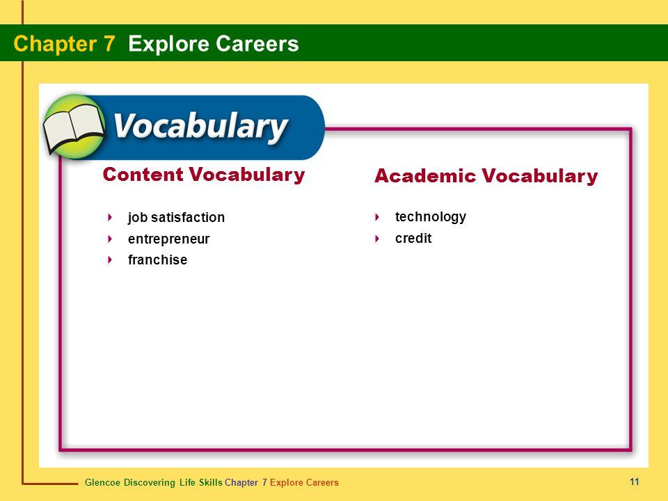 Glencoe Discovering Life Skills Chapter 7 Explore Careers Chapter 7 Explore Careers 11 Content Vocabulary job satisfaction entrepreneur franchise Acad