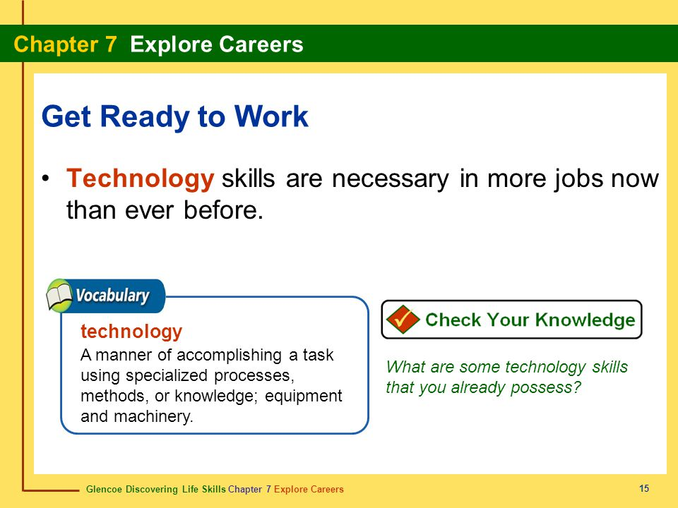 Glencoe Discovering Life Skills Chapter 7 Explore Careers Chapter 7 Explore Careers 15 Get Ready to Work Technology skills are necessary in more jobs now than ever before.