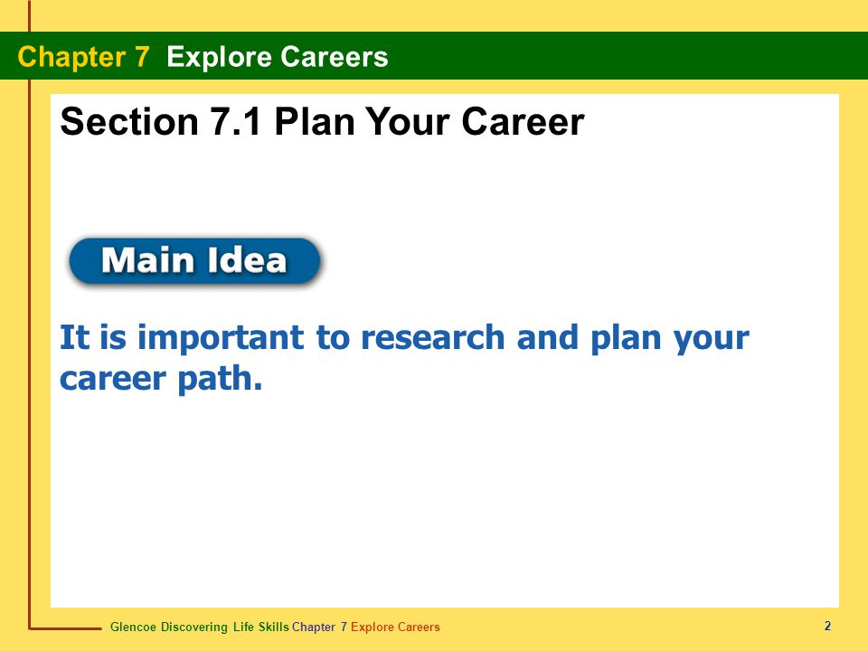Glencoe Discovering Life Skills Chapter 7 Explore Careers Chapter 7 Explore Careers 2 Section 7.1 Plan Your Career It is important to research and pla