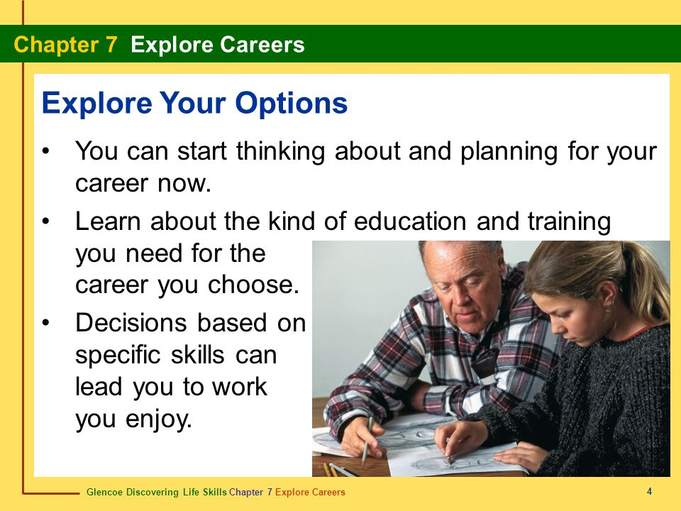 Glencoe Discovering Life Skills Chapter 7 Explore Careers Chapter 7 Explore Careers 4 Explore Your Options You can start thinking about and planning for your career now.